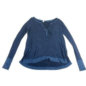 Free People Blue Knit V Neck Tie Top Size S